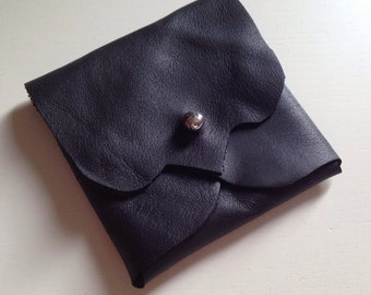 Black Leather Earphone or Earbud Pouch or Just a Cute Pouch. Silver Coloured Rivet Closure. Eco Friendly.