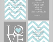 """Scripture Nursery Print Baby Gift Love print We Prayed for This Child Before I Formed You For I Know the plans Set of four 8""""x10"""""""