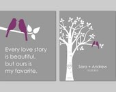 Every Love Story is Beautiful But Ours Is My Favorite Wedding Gift Anniversary Gift Family Tree Set of 2 prints- 11x14s You choose Colors