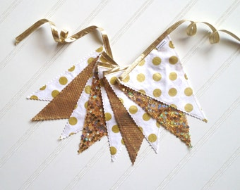 Metallic Gold and White Pennant Fabric Banner - Bunting, Party Decoration, Photo Prop
