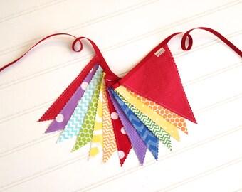 Colorful Fabric Banner, Bunting, Birthday Decoration - Polka Dots & Chevron