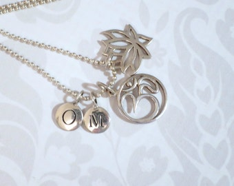 Yoga OM Charm Necklace Sterling Silver  /  Silver Lotus Om Jewelry  /  925 Silver Charms w Bead Ball Necklace  /  Spiritual Gift Ideas