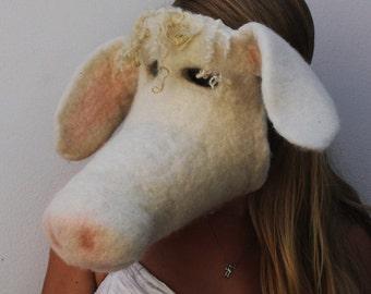 Needle Felted Cow Mask