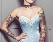 """Reserved for  Akalie Brown; third installment for 21"""" pale blue overbust corset"""