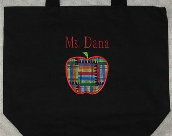 TEACHER Personalized Tote bag large black canvas crayon fabric Back to School teacher appreciation preschool kindergarten daycare gift idea