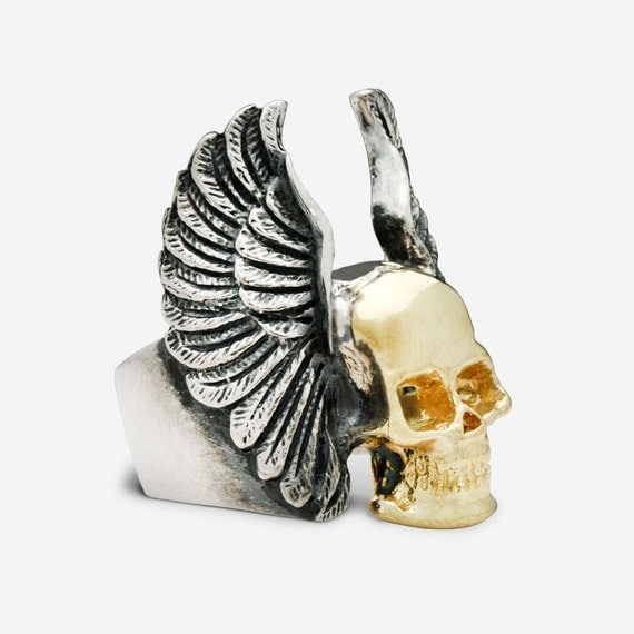 Sterling Silver & Gold Flying Skull with Angel Wings Ring