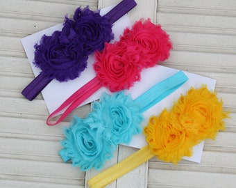 Spring into Summer Double Shabby Headband Set of 4  (Newborn, Toddler, Child)  Photo Prop summer