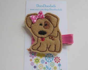 Perky Little Puppy Hair Clip *  Hot Pink Accents