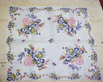 Vintage Handkerchief Tulips Spring Flower Cart Sweet Cottage Floral Hankie Cotton Floral Blue Yellow Pink Green