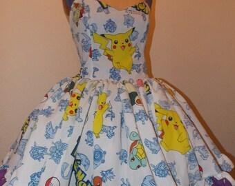 Custom Made to order Pokemon or Gengar Ruffled Sweetheart Halter Mini Dress