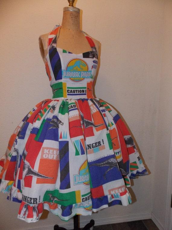 Custom made to order Jurassic Park Dinosaur Danger SweetHeart Ruffled Mini Dress
