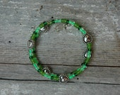 Green Grass Double Loop Bracelet - Proceeds Benefit Cancer Research