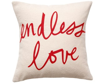Endless Love Pillow, Oatmeal and Red