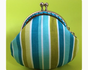 FREE SHIPPING - Handmade small coin purse with blue stripe