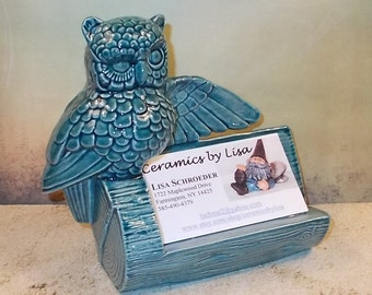 Ceramic Owl Business Card Holder - Sea Mist Green - Vintage Design