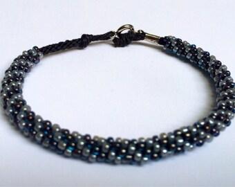 Beaded Kumihimo Bracelet- blue & metalic gray swirl