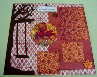 Premade Scrapbook Layout Autumn, Fall Scrapbook Album TWO PAGE Layout, 12 x 12 scrap pages, Autumn leaves layout, Fall colors pages