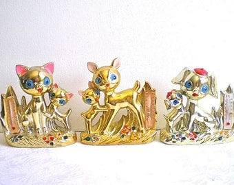 Big Eyes, Gold, 1960s, Retro, Dog, Cat, Deer, Animal Figurines, Thermometers, Set of 3, Kitschy