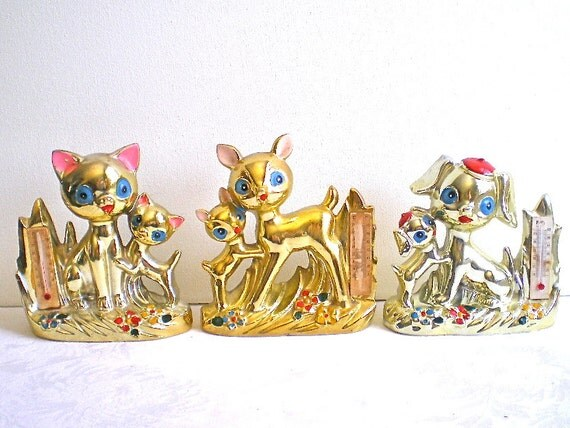 1960s Thermometers, Gold, Animal Figurines, Deer, Cats, Dogs, Set of 3, Kitschy, SALE, WAS 58 now 48