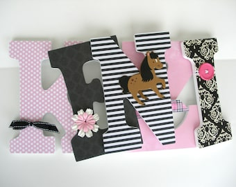 Baby Girl Custom Wooden Letters - Pink and Black Horse Letters - Animal Nursery