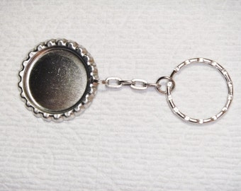 Bottle cap key ring/chain with one (1) inch bottle cap and one (1) inch key ring - 100 key rings - Priority Mail