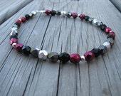 Ankle Bracelet- Metallic Red, Hematite, Silver, and Black, Beaded Ankle Bracelet