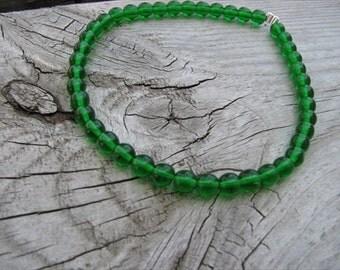 Emerald Green Beaded Ankle Bracelet