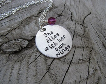 """Inspiration Necklace- """"She flies with her own wings"""" with an accent bead of your choice"""