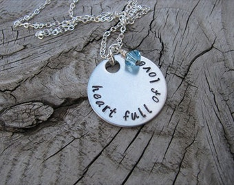 """Inspiration Necklace- Mother's Necklace- Hand-Stamped """"heart full of love"""" with an accent bead in your choice of colors"""