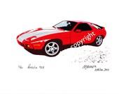 Limited Edition Classic Sports Car Print: PORSCHE 928, art for men, man cave garage, gas monkey, Porsche 911 914 944 356 boxster carrera