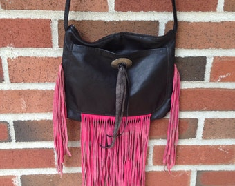 Vintage 80s Leather Black And Pink Fringe Purse