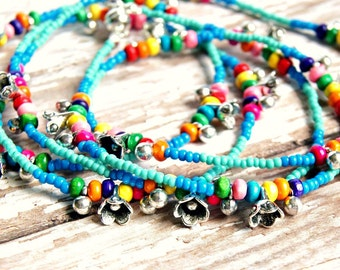 long beaded necklace, rainbow necklace, hippie jewelry, colorful necklace