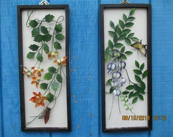 Two 1960s Metal Floral 3D Framed Wall Hangings