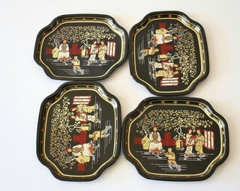 Vintage Asian Motif Tin Trays, Black, England