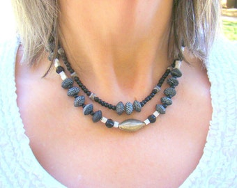 Layered Black and Silver Necklace, Multistrand Stone Necklace, Sterling Silver Hill Tribe Choker, Black and White, Monochrome - BJ0035