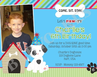 Puppy Party Birthday Invitation Boy -  DIY Print Your Own - Matching Party Printables available