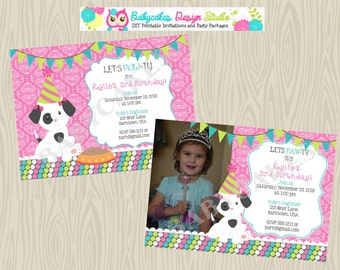 Girl Puppy Birthday-Party-Invitation-invite-puppy party-puppy pawty-photo-picture-invitation-invite-Printable-Custom-DIY