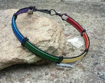 Rainbow Gay Lesbian Pride Bangle Bracelet LGBT GLBT