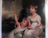 Lithograph Art picture, Portrait of Two Sisters by W.Beechey