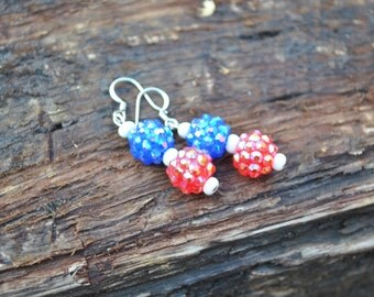 Red, White and Blue Sparkle Earrings