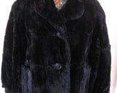 1960's Black Fur Coat, Jacket Length, Black Mouton or Lamb