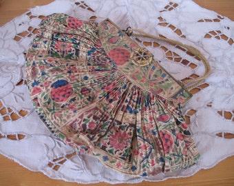 1930's Purse Handbag, Sweet Pleated Fan Shape