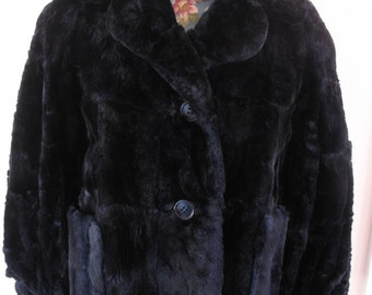 1960's Black Fur Coat, Jacket Length, Black Mouton or Lamb-SALE