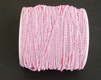 Pink Electroplated  Twist  Curbe Chain Colored Chain-15 ft.