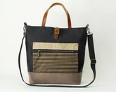 Dark navy and choco brown canvas Tote / shoulder bag with front ZipPocket, Design by BagyBags