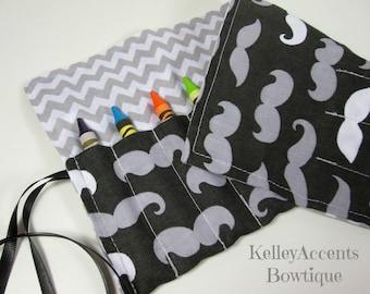Mustache Crayon Roll - Gray Chevron  Crayon Roll Caddy
