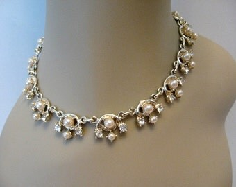 Vintage DUANE Faux Pearl and Rhinestone Necklace