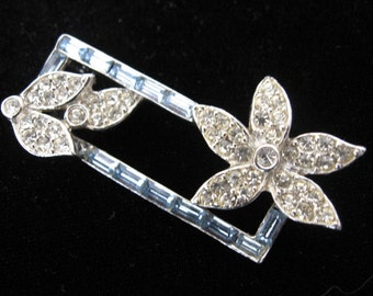 Vintage Art Deco Rhinestone Brooch - Rhinestone Floral Bar Brooch - Something Blue