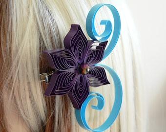 Plum and Aqua Wedding Hair Accessory, Bridesmaid Gift, Purple Wedding, Aqua Wedding