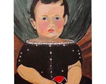 Folk Art Painting Boy Canvas Personalized Primitive Portrait